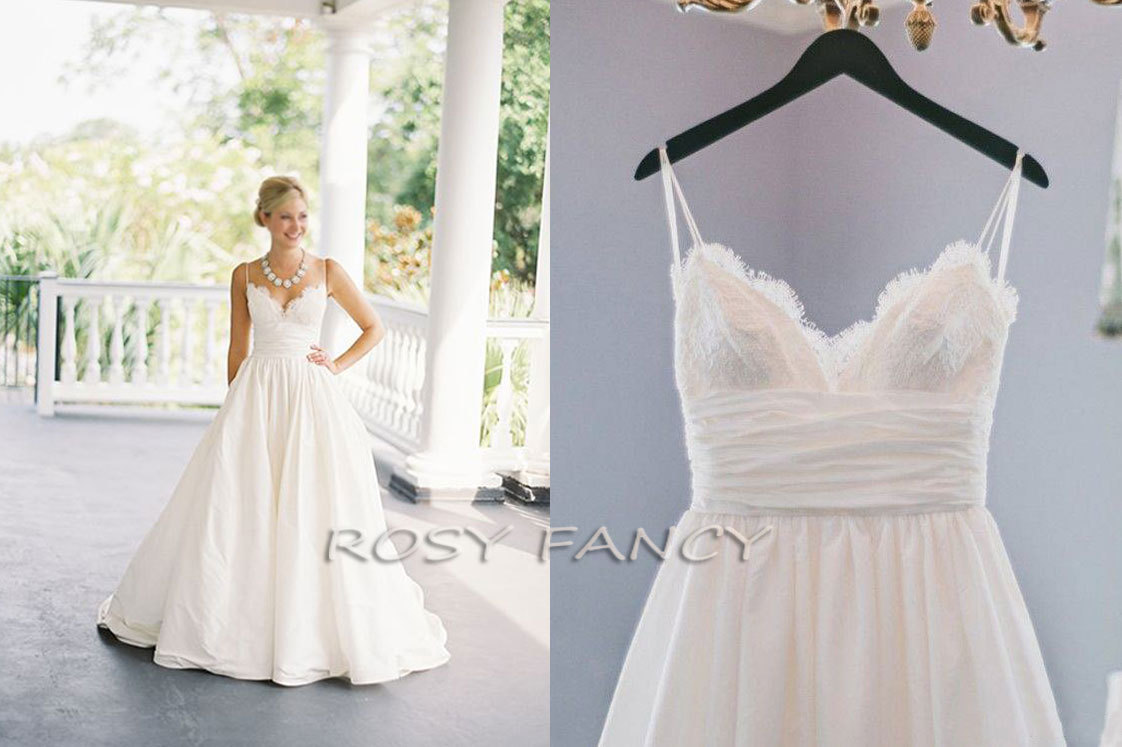 Rosyfancy Spaghetti Straps V-neck Lace And Taffeta Bridal