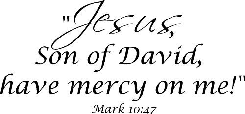 Mark 10:47 Vinyl Wall Art, Jesus, Son of David, Have Mercy