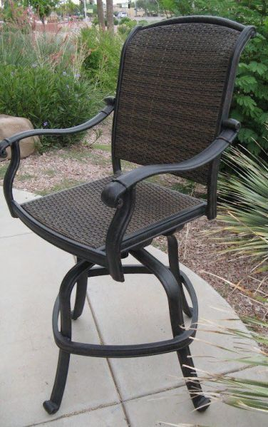 outdoor patio swivel bar stools Santa Clara Outdoor Patio Swivel Bar Stools Cast Aluminum Set of 4 - Chairs
