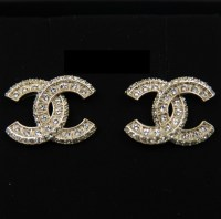 Chanel Cc Logo Earrings Large Gold Crystal - Jewelry ...