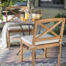 3pc Wood Metal Tile Mosaic Patio Bistro Set Cushioned