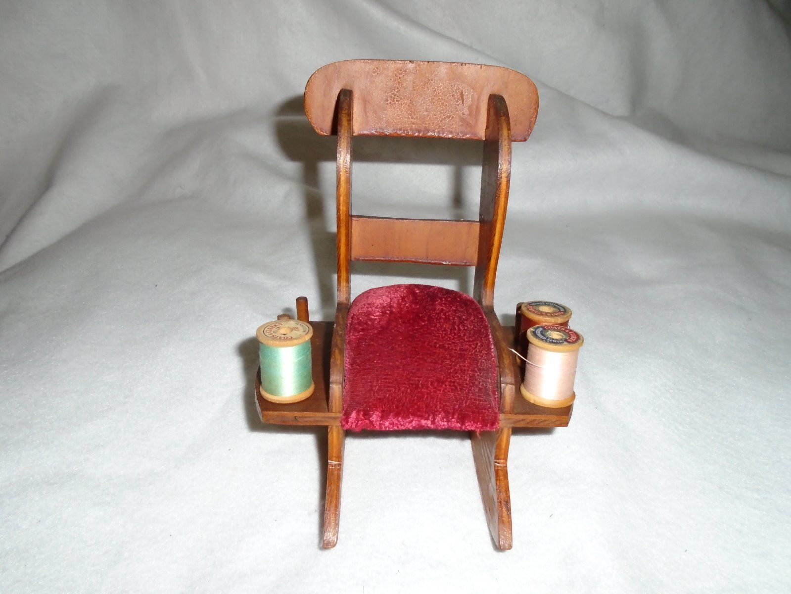 antique sewing chair swing egg cover victorian wood rocking red velvet pin