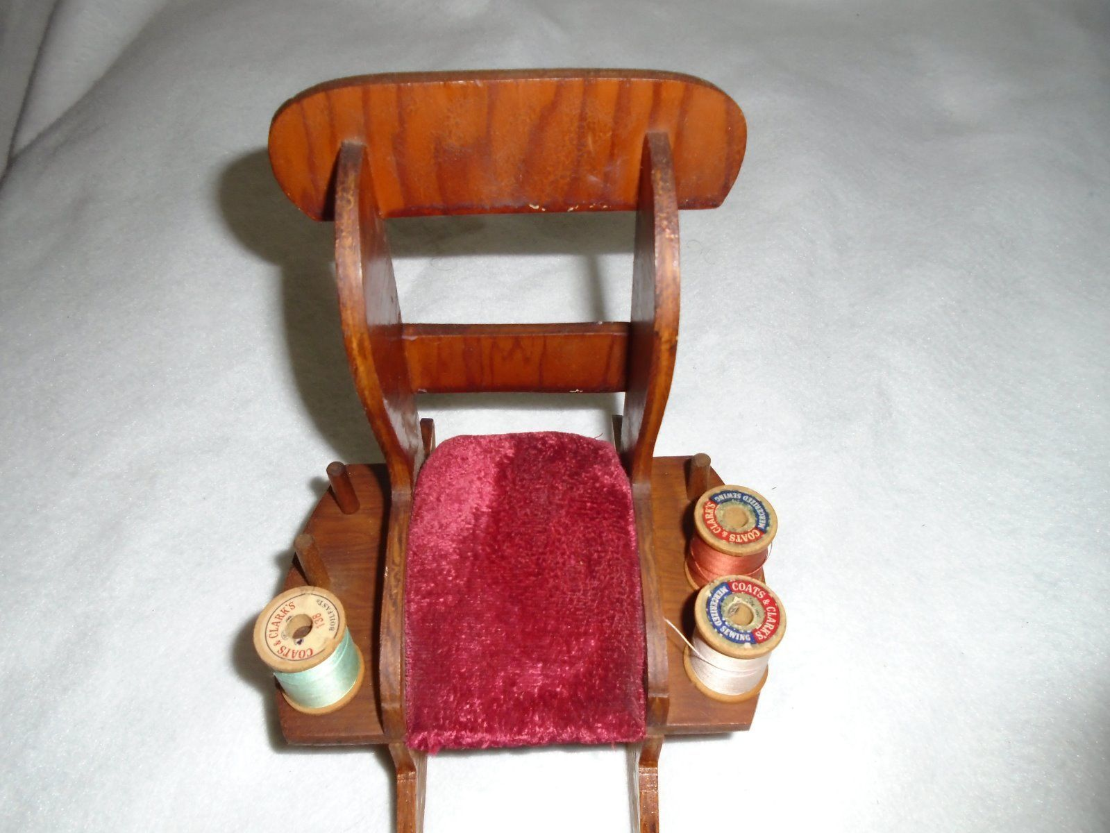 antique sewing chair tell city chairs mahogany 27 victorian wood rocking red velvet pin