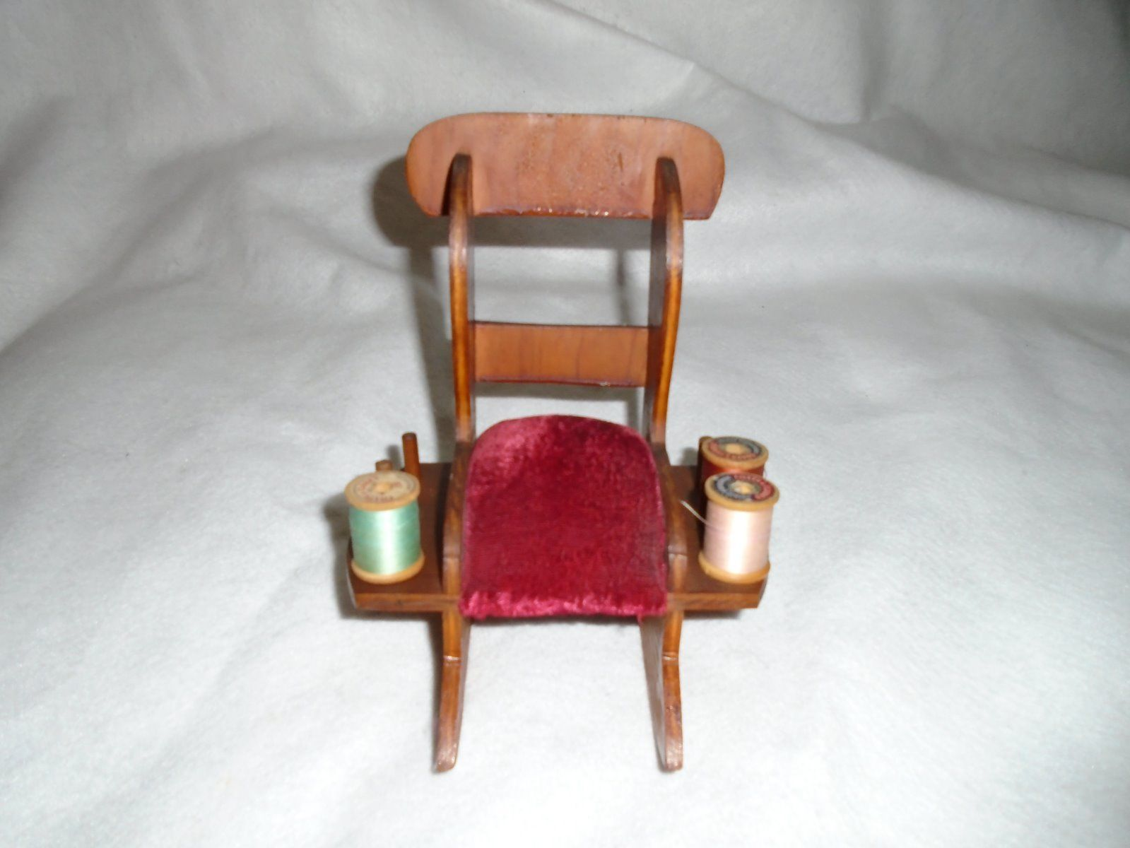 antique sewing chair diy hanging for your room victorian wood rocking red velvet pin