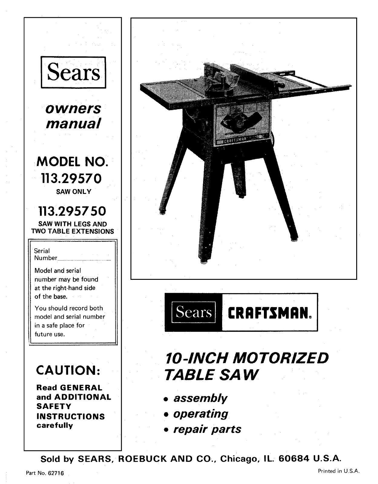 Sears Craftsman Table Saw Manual Model # 152.221140 Home