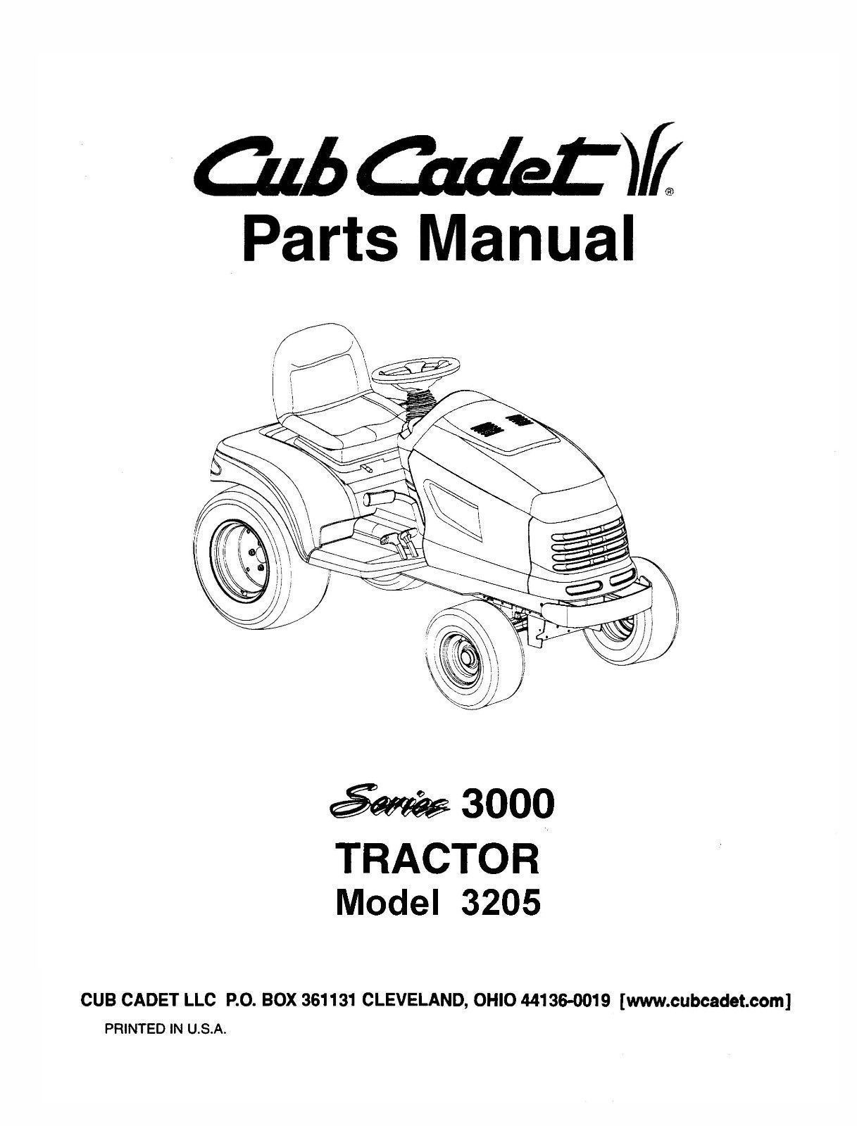 Cub Cadet 3000 Series Lawn Tractor Parts Manual Model No 3185