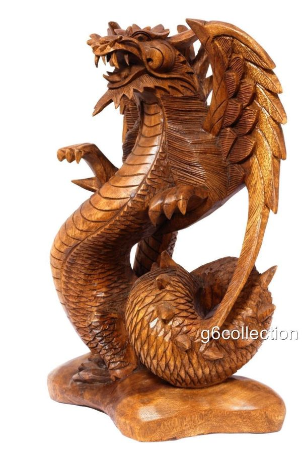 Hand Carved Wood Dragon Sculptures