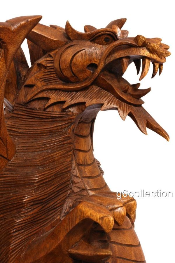 """17"""" Large Wood """" Guardian Dragon"""" Bali Statue Hand Carved Figurine Home Decor - Art Sculptures"""