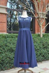 Modest tea length navy blue lace junior prom evening ...
