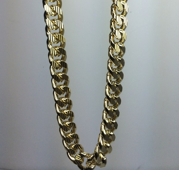 10k Gold Plated 30 Miami Cuban Link Chain With Stripe Cuts - Chains Necklaces & Pendants