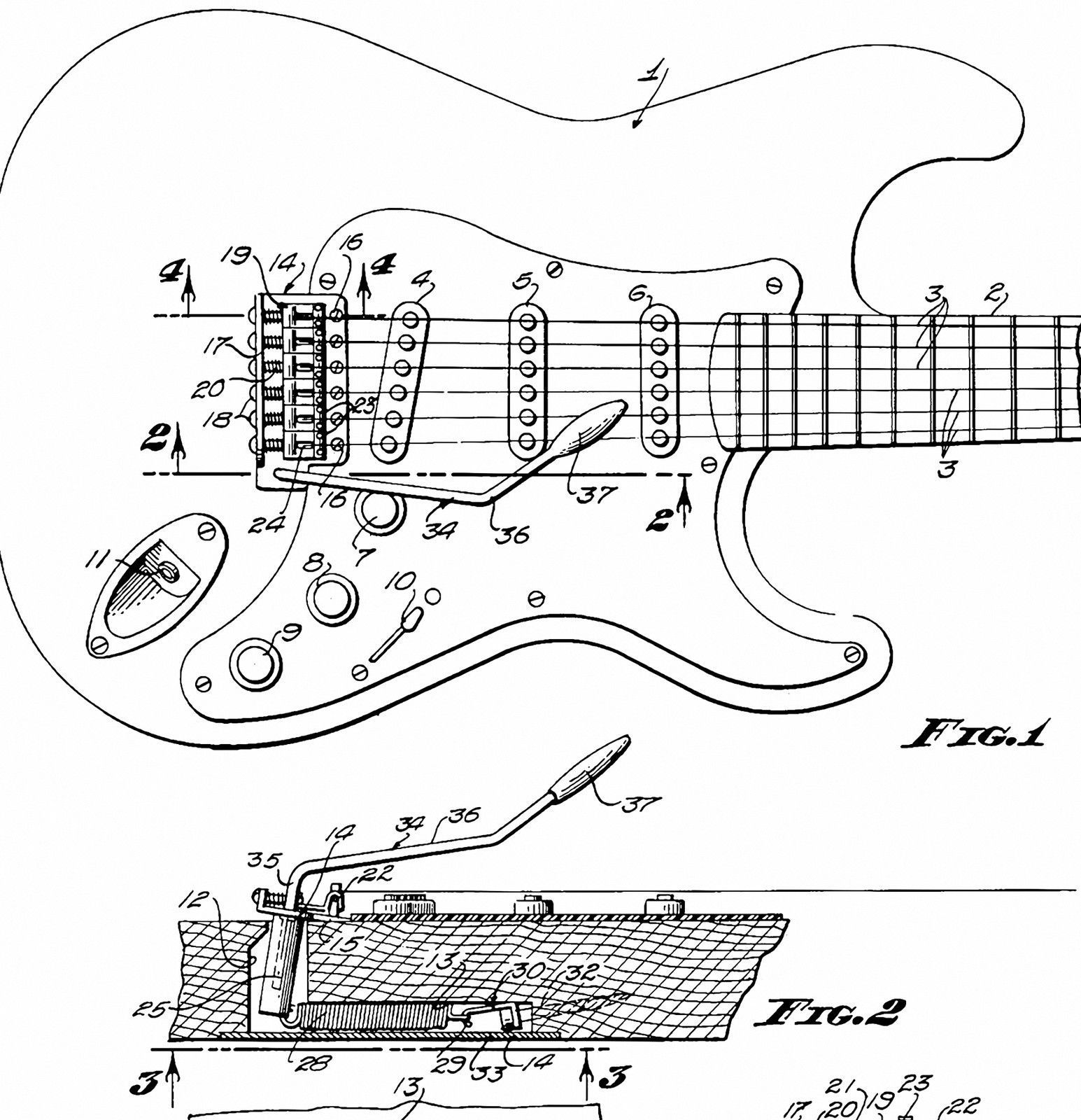 1956 Stratocaster Art Fender Poster Patent Drawing Guitar