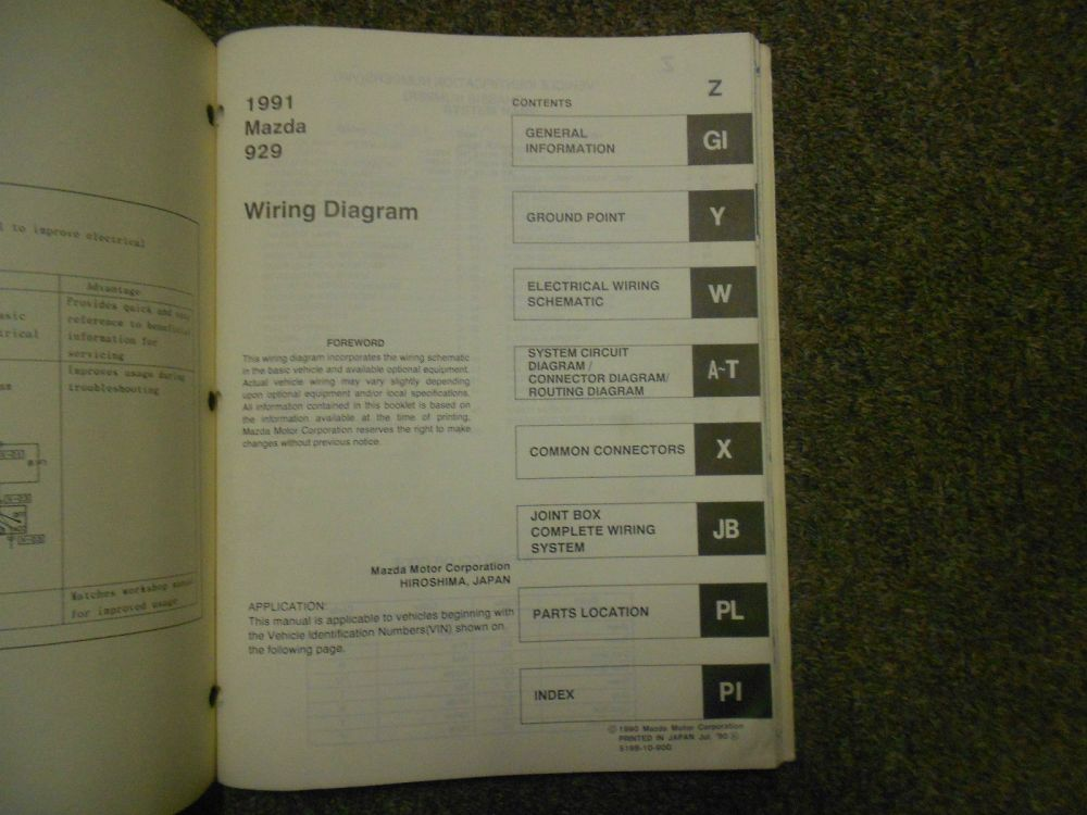 medium resolution of 1991 mazda 929 electrical wiring diagram service manual oem 91