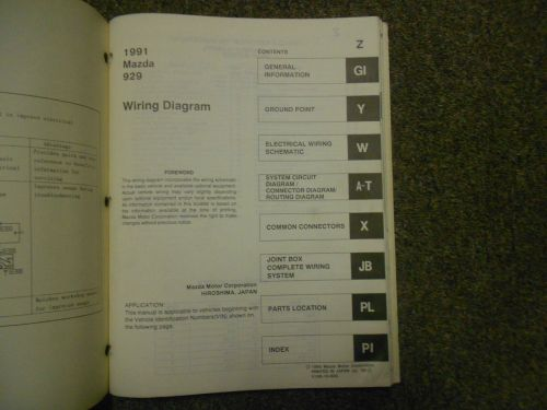 small resolution of 1991 mazda 929 electrical wiring diagram service manual oem 91