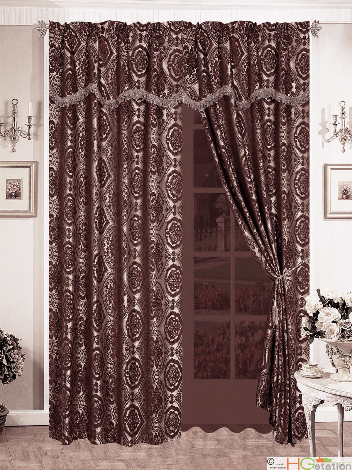 4pc Quality Chenille Floral Damask Flocking Curtain Set