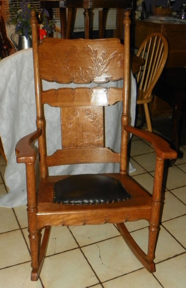Antique Oak Rocking Chair with Leather Seat
