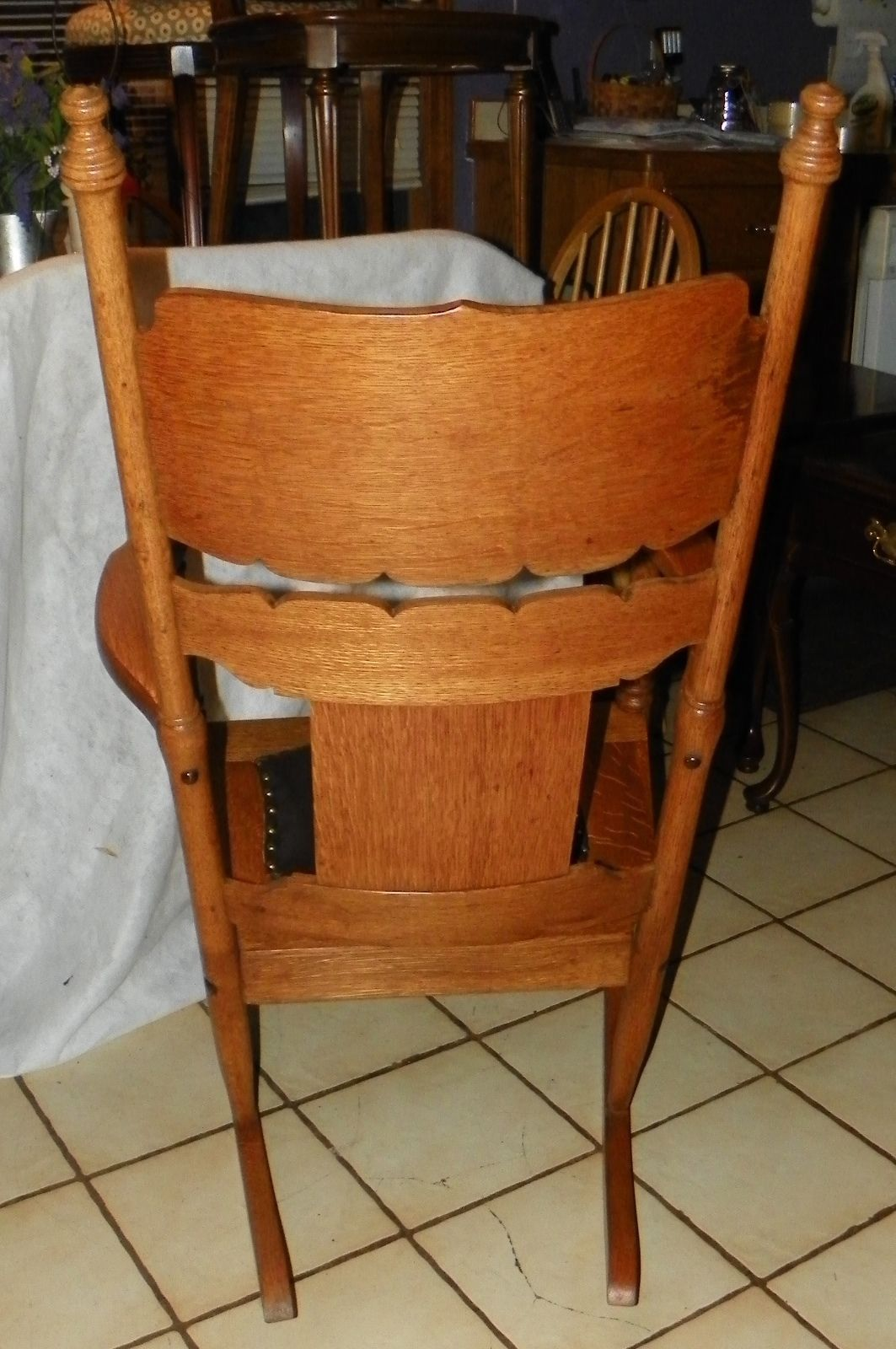 brown leather rocking chair lift assist quartersawn oak carved rocker with