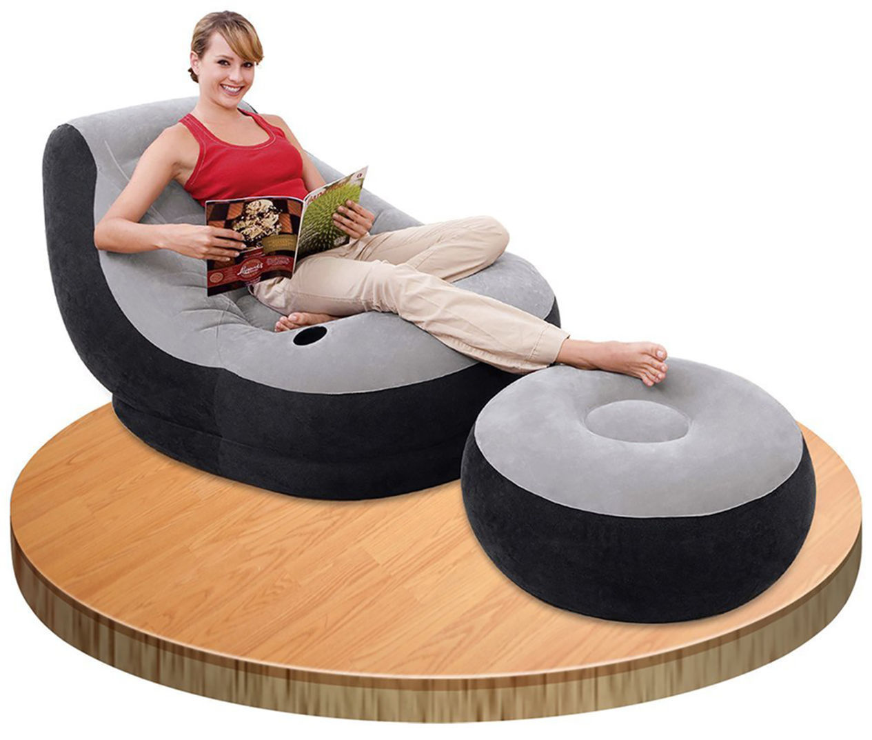 intex inflatable chair and ottoman brown leather eames lounge w chaise leisure air bed