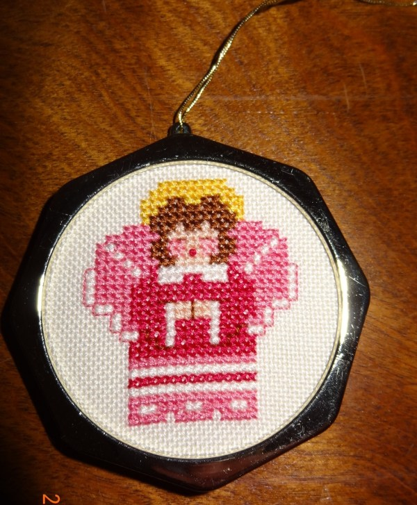 Pink Angel Christmas Ornament Finished Cross Stitch