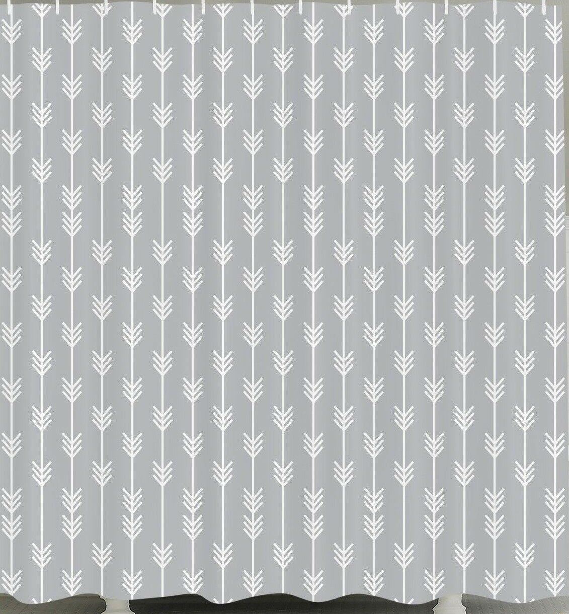 Gray Arrow Arrowhead Fabric Shower Curtain 84 Long Tribal