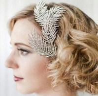 Bohemian Crystal Feathers Bridal Hair Clip. Sparkly Bridal
