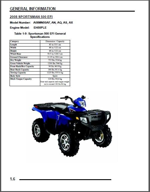 2008 Polaris Sportsman 500 / 500 EFI / X2 / Touring ATV