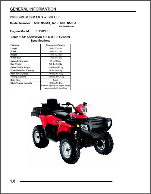 2008 Polaris Sportsman 500 / 500 EFI / X2 / Touring ATV