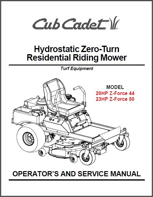 Cub Cadet Z-Force 44 Z-Force 50 Riding Mower Operator's