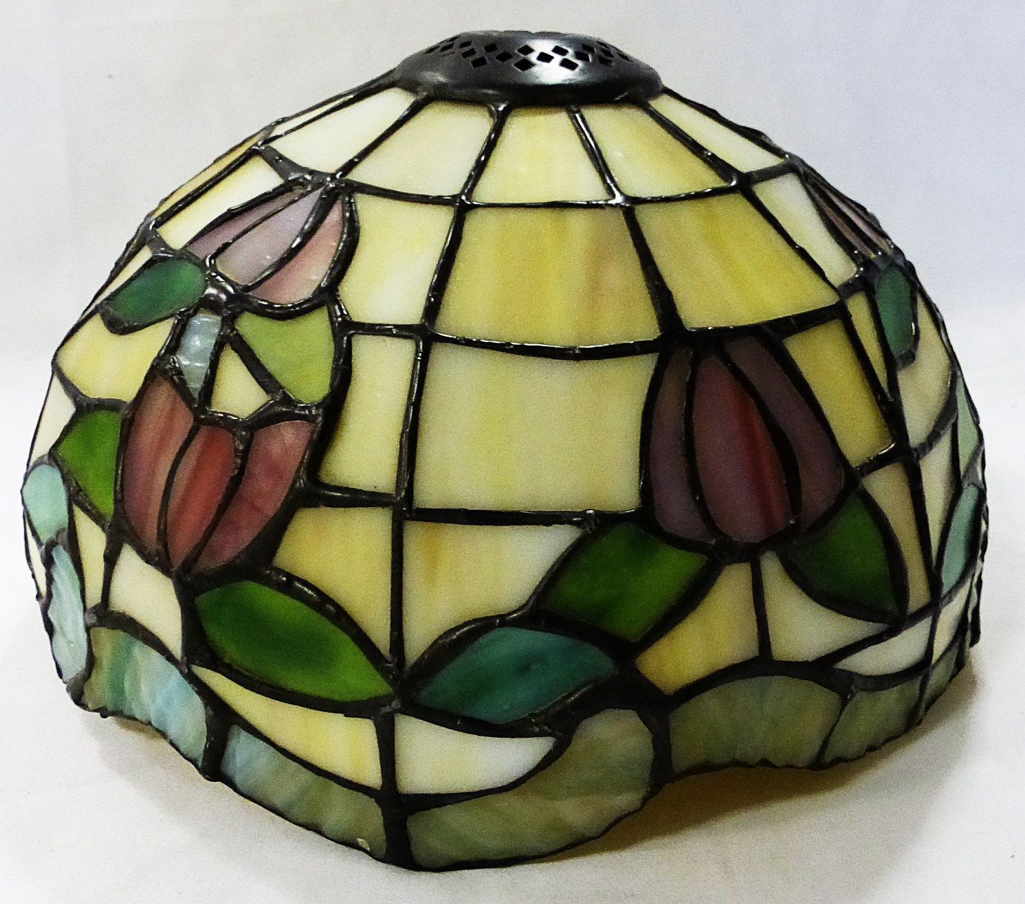 Tiffany style lamp shade leaded Stained glass heavy