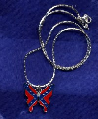 NEW SILVER PLATED REBEL [CONFEDERATE] FLAG BUTTERFLY ...
