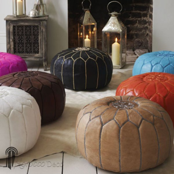Moroccan Pouf Leather Ottoman Poof Footstool Burgundy