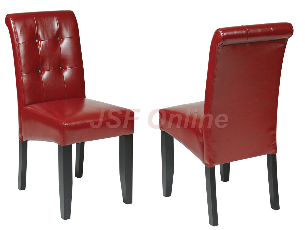 red tufted dining chair hammock style crimson eco leather table parsons w
