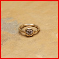 14k Gold Ring 16g Captive Bead Gemmed Ball Solid Gold ...
