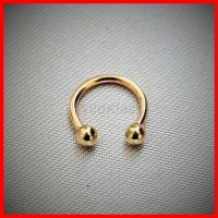 14k Gold Ring 16G 14G Solid Gold Horseshoe Circular ...