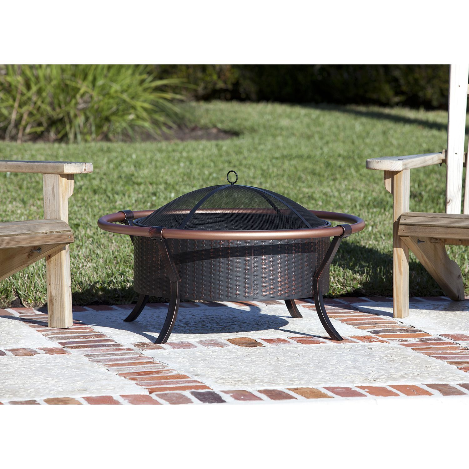 backyard fire pit chairs collapsable high chair outdoor patio furniture fireplace copper wood