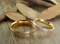 Handmade Gold Wedding Bands, Couple Rings Set, Titanium ...