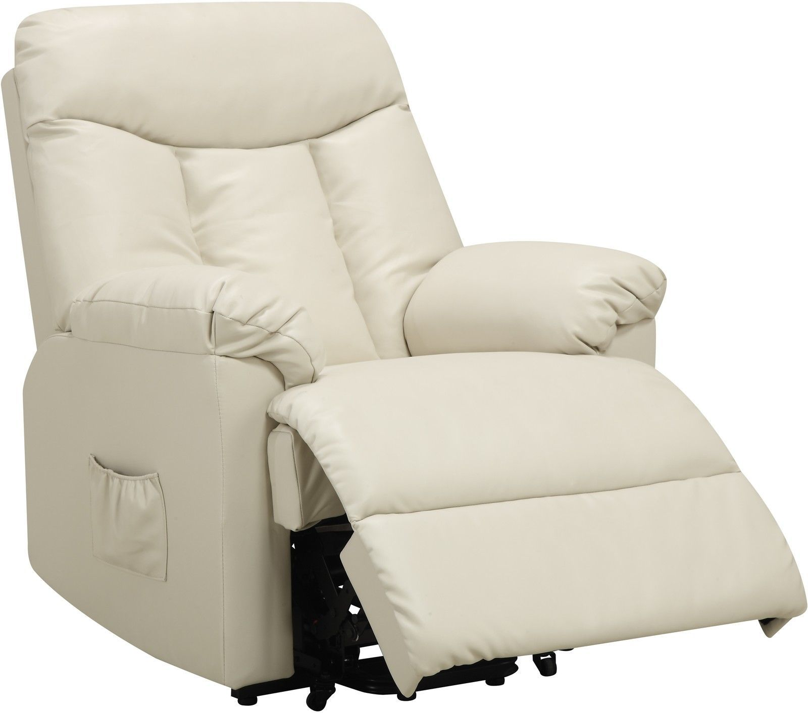 Electric Lift Chair Recliner Cream Leather Power Motion