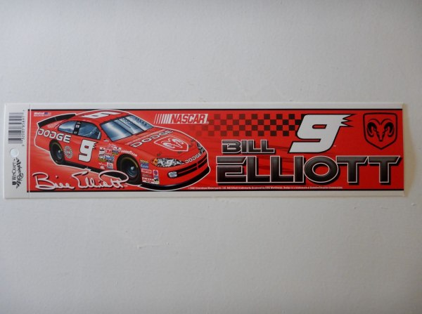 Bill Elliott #9 Dodge Bumper Sticker Strip Wincraft