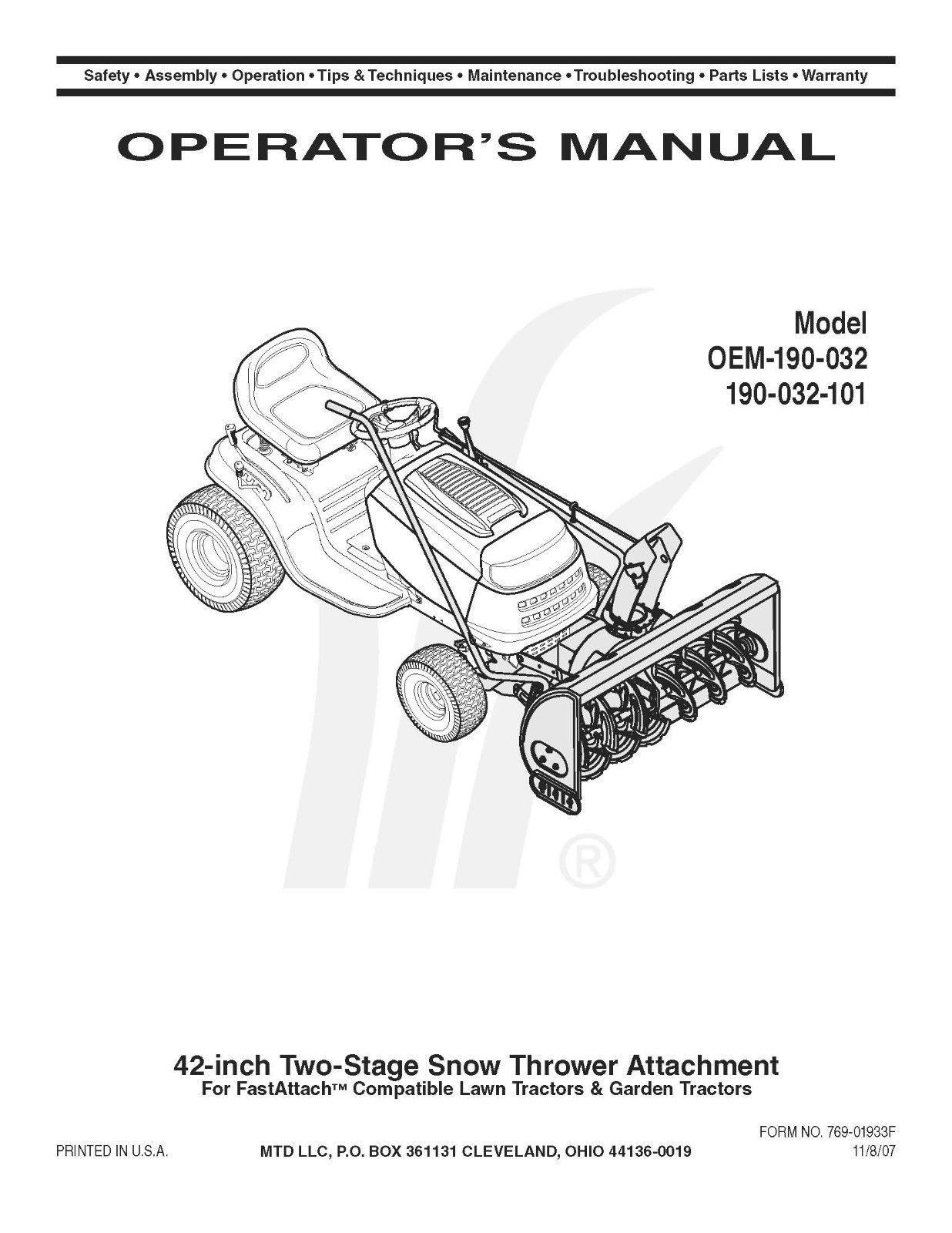 Cub Cadet Model No. LTX-1040 Lawn Tractor Manuals COMBO