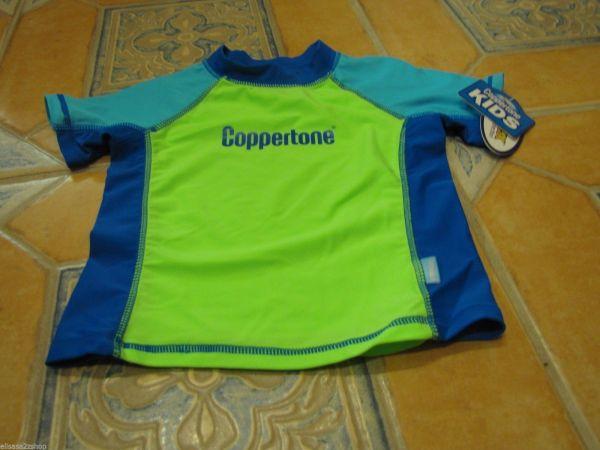 Boy' Youth Coppertone 4 Swim Rash Guard Shirt Neon
