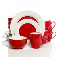 Gibson Style Deluxe 16 PC Dinnerware Set Red And White ...