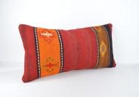 kilim lumbar orange red kilim pillow lumbar kilim cushion ...