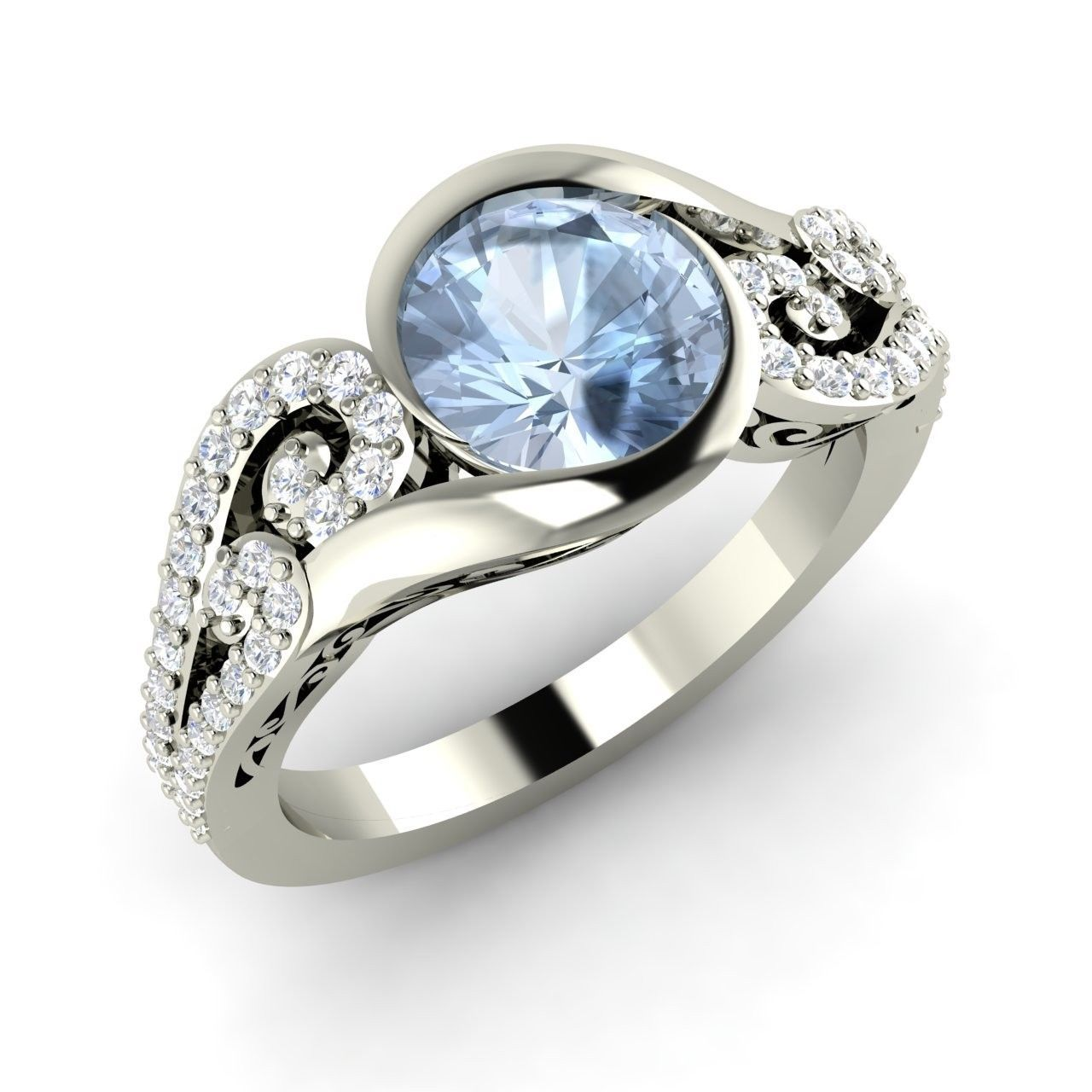 124 Ct Natural Aquamarine Engagement 14k White Gold Ring