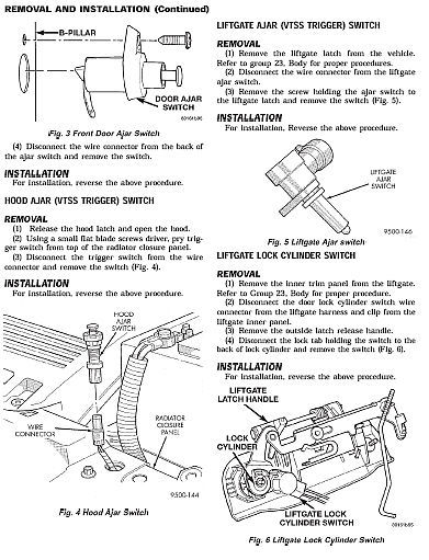 2000 Chrysler Concorde Diagram Hood Latch