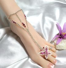 Sexy Pink Butterfly Rhinestone Anklet Toe Ring Barefoot