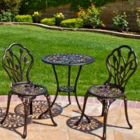 Patio Set Bistro Outdoor Furniture Table 3 Piece Chairs ...
