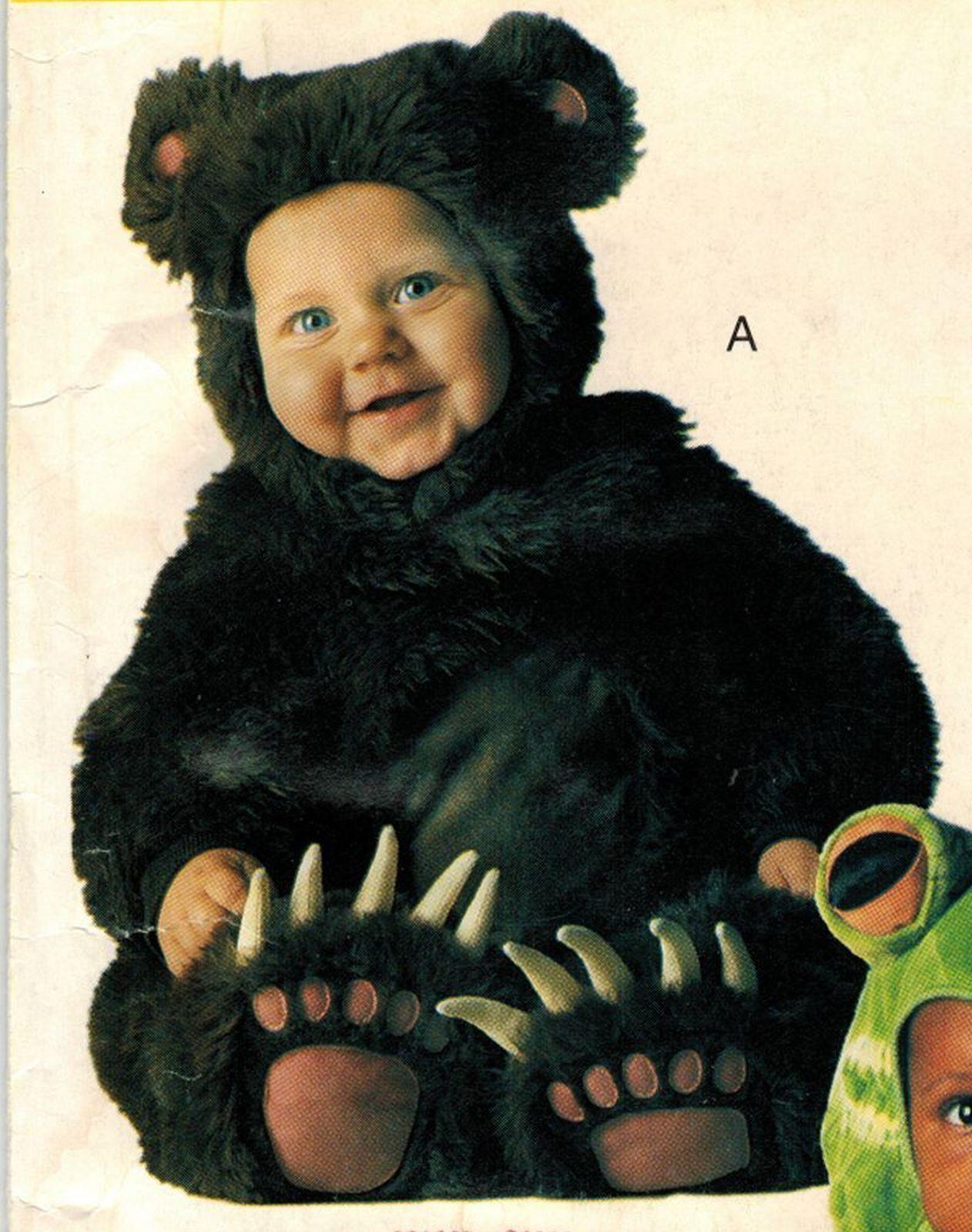 Toddlers Bear Frog Jumpsuit Hood Halloween Costume Sew
