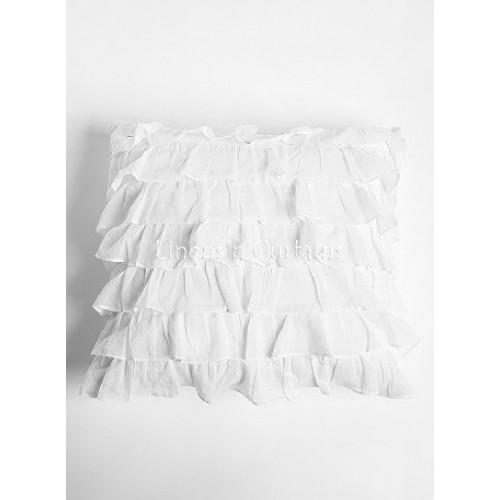 White Ruffled Euro Pillow Sham Cover  Pillow Shams