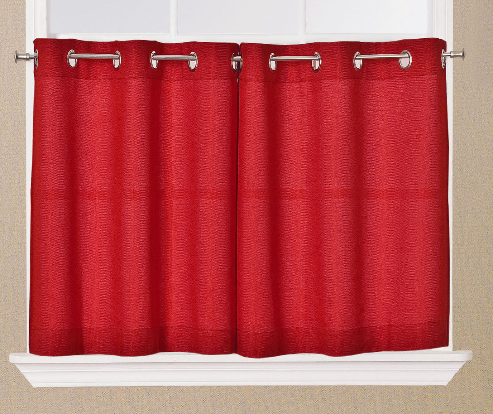 Jackson Textured Solid Red Kitchen Curtain Choice Tiers Or