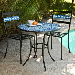 Blue Bistro Chairs Old Steelcase Set Patio Table Mosaic Tile Garden Deck