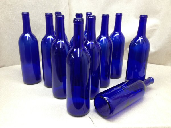 12 - Cobalt Blue Wine Bottles 750 Ml Crafting